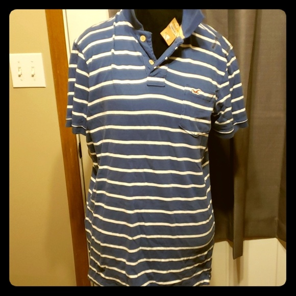 Hollister Other - Holister blue and white striped polo nwt